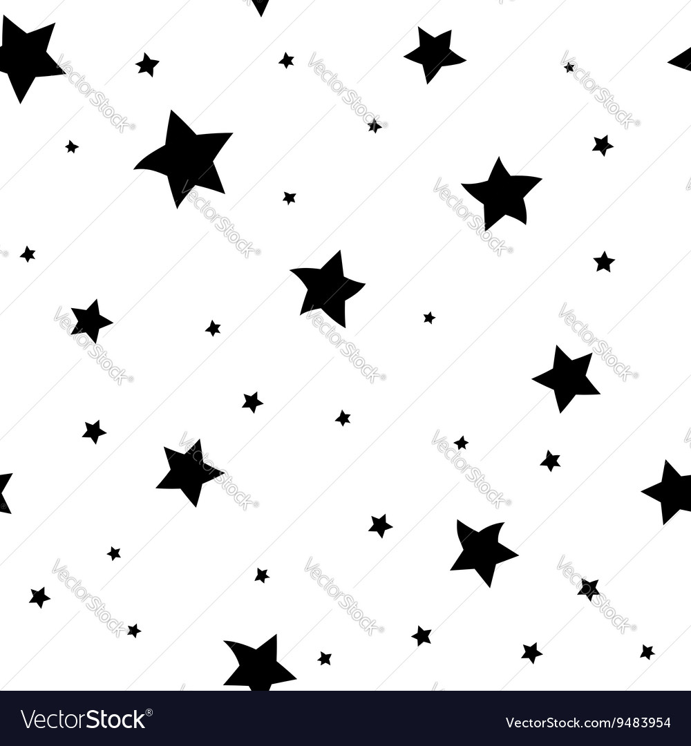 Star seamless pattern big and small vector image