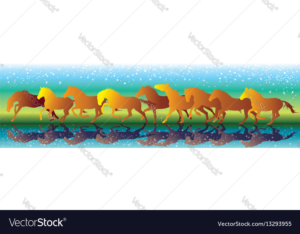 Background with orange horses running gallop on vector image