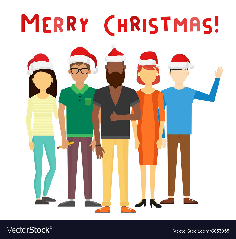 Business team people christmas greeting card vector image reheart Images