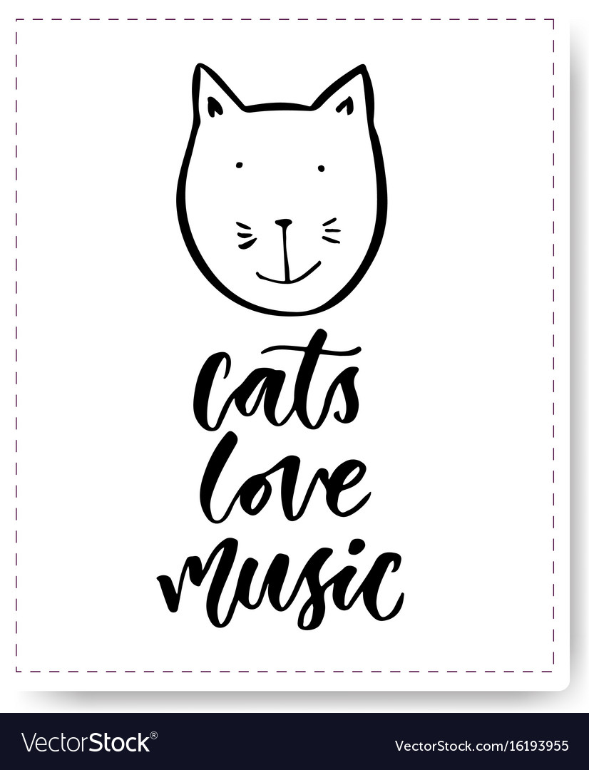 Hand drawn lettering with cute cat cats love vector image