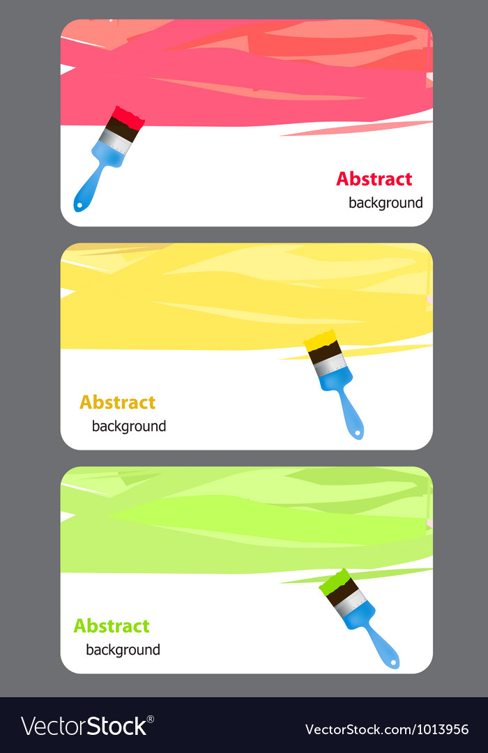 Business card with Blue paint brush andk paint Vector Image