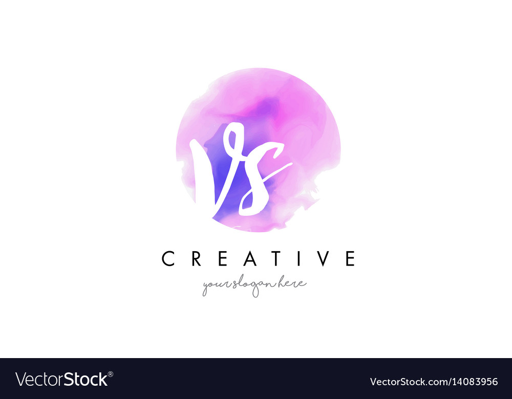 Vs watercolor letter logo design with purple vector image