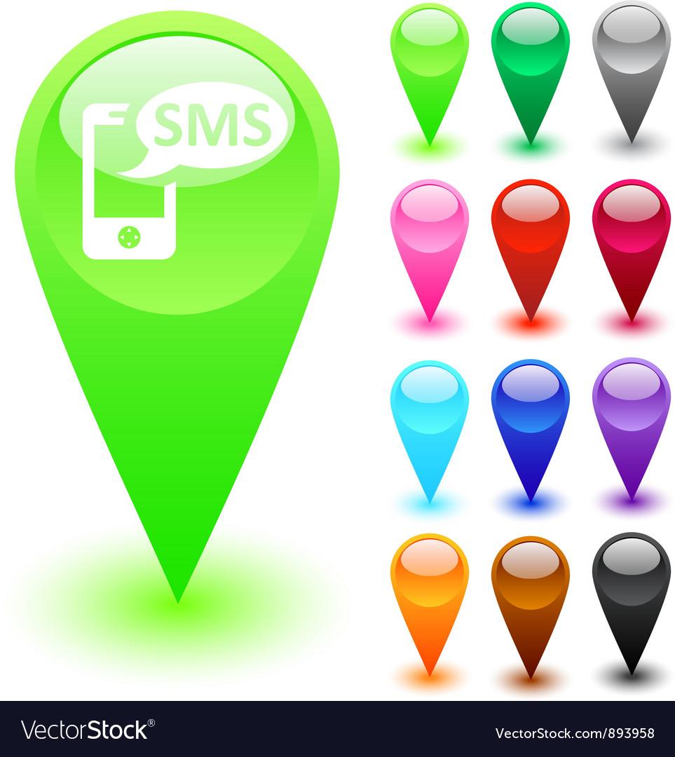 SMS button vector image