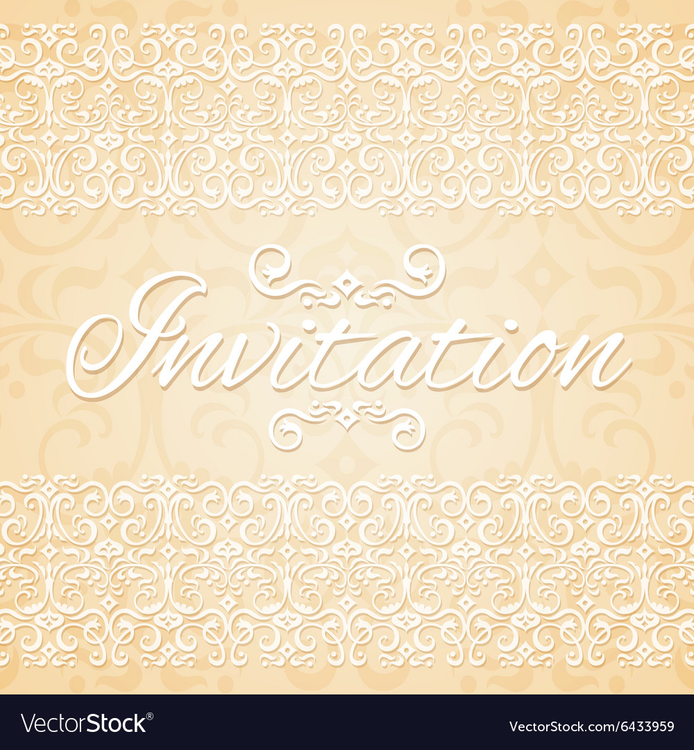 Beige floral ornament wedding invitation card vector image