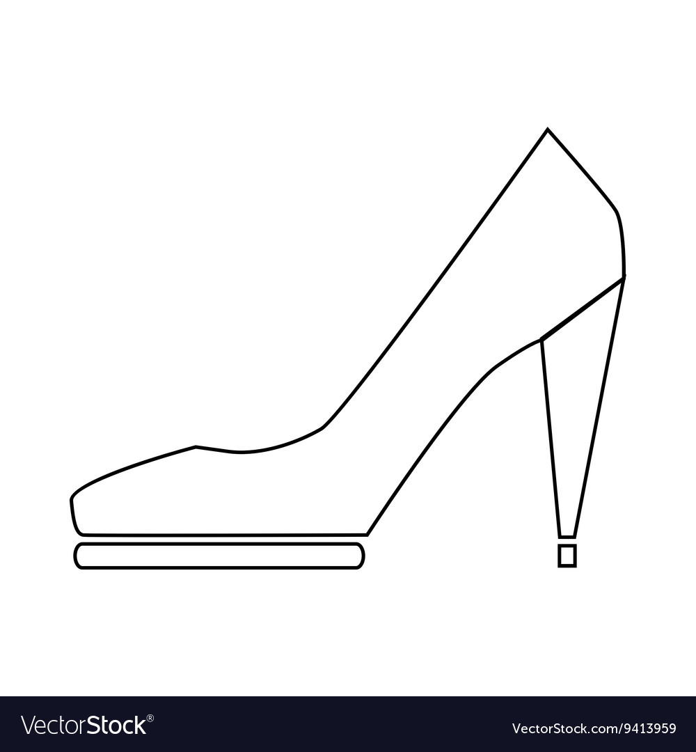 High heel shoe icon in outline style vector image