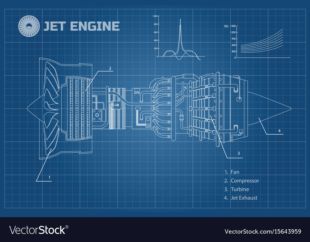 Jet engine industrial blueprint vector image