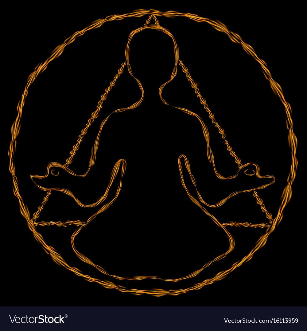 Meditation round-triangle aura vector image