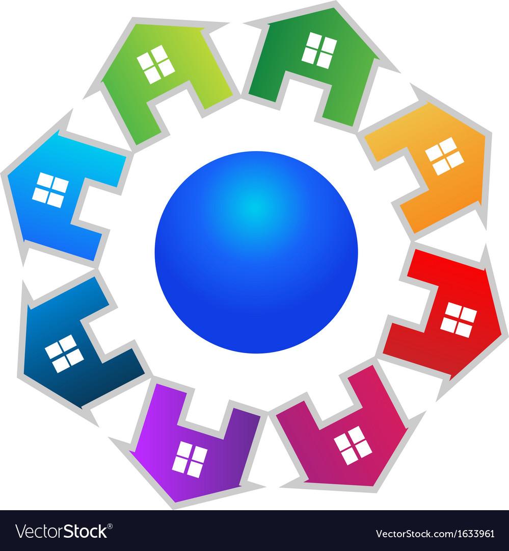 Real estate around world logo Vector Image