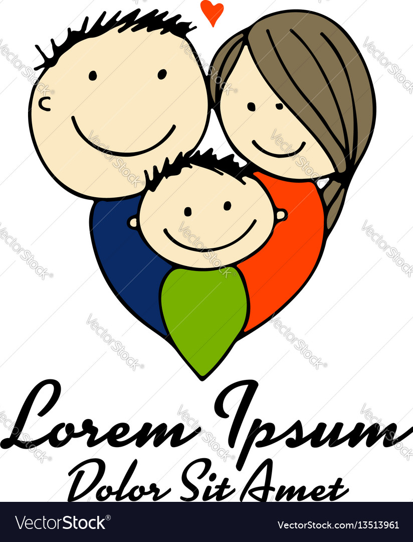Family parents with child sketch for your design vector image