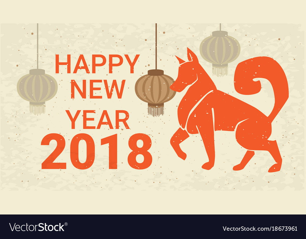 happy new year 2018 poster dog and chinese vector image - Chinese Happy New Year