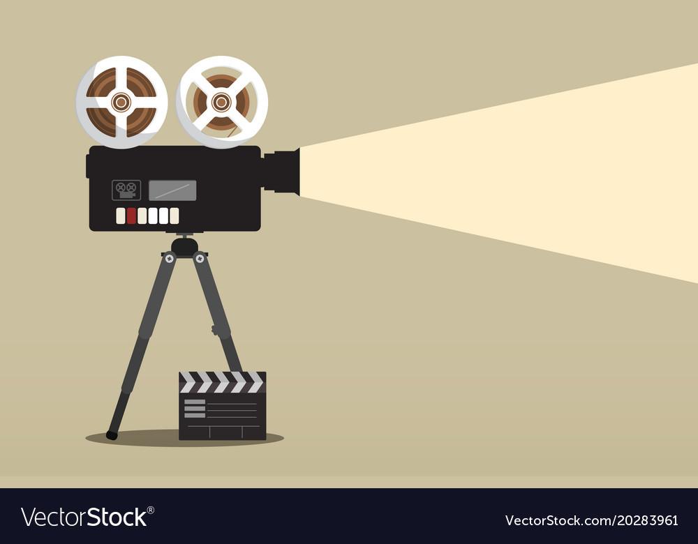 Retro movie camera on tripod with film clap vector image