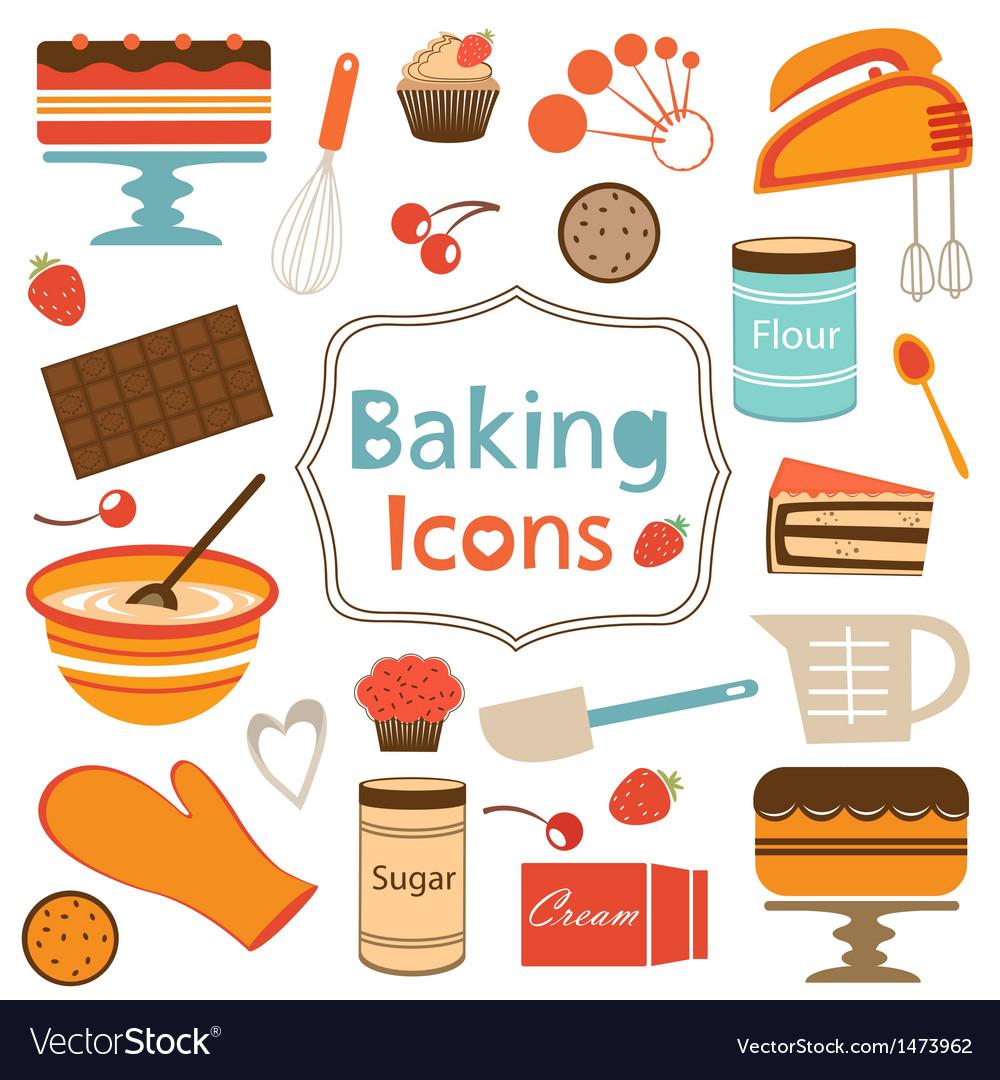 Baking icons set vector image