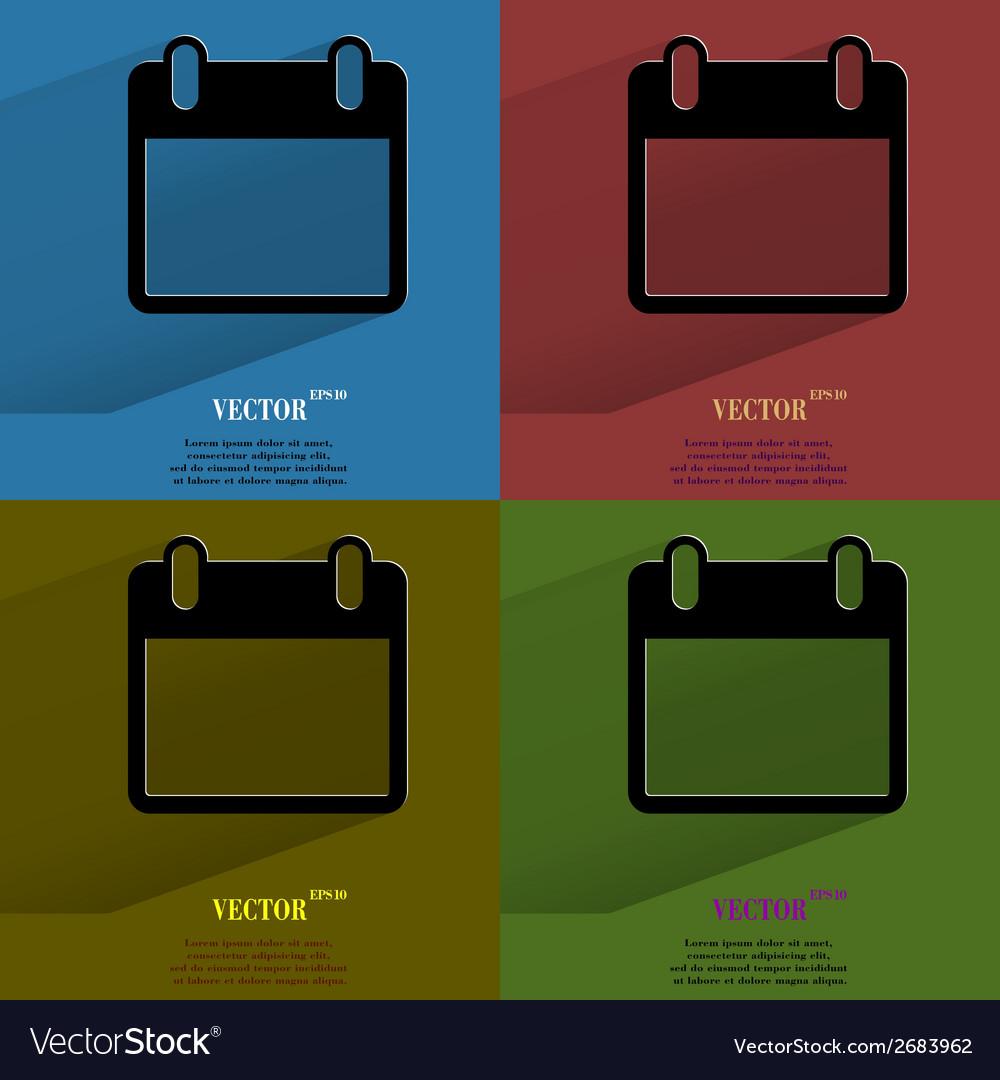 Color set Calendar Flat modern web button with vector image