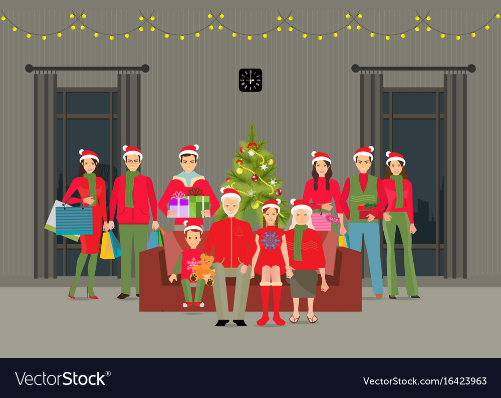 Happy Big Family Celebrating Christmas At Home Vector Image