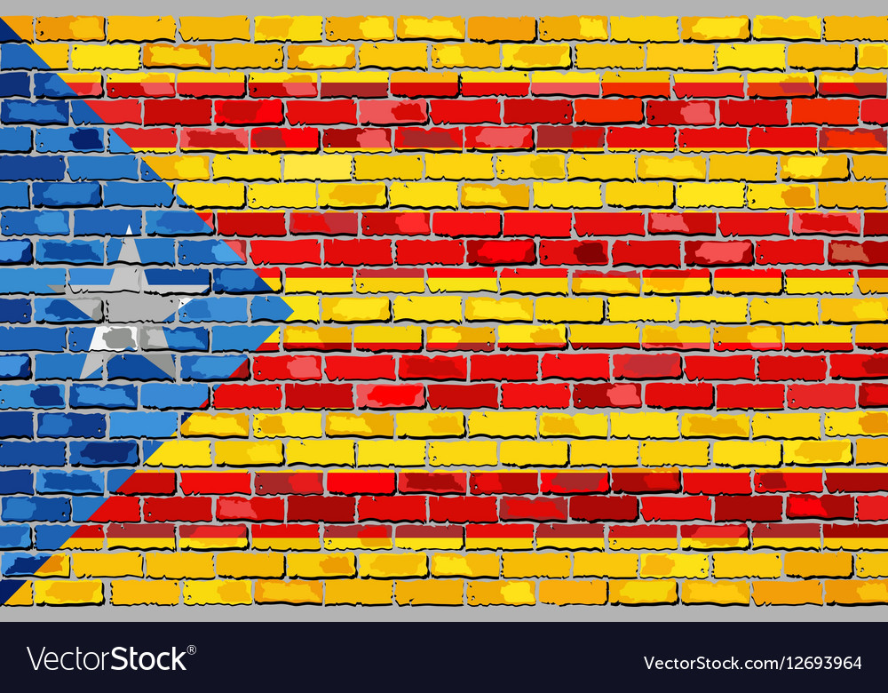 Catalan flag with a white star in brick style vector image