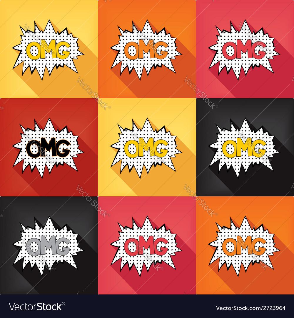 Flat pop art speech bubble - OMG vector image