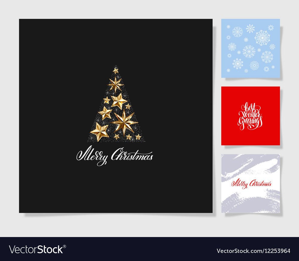 Set of christmas tree decoration background vector image