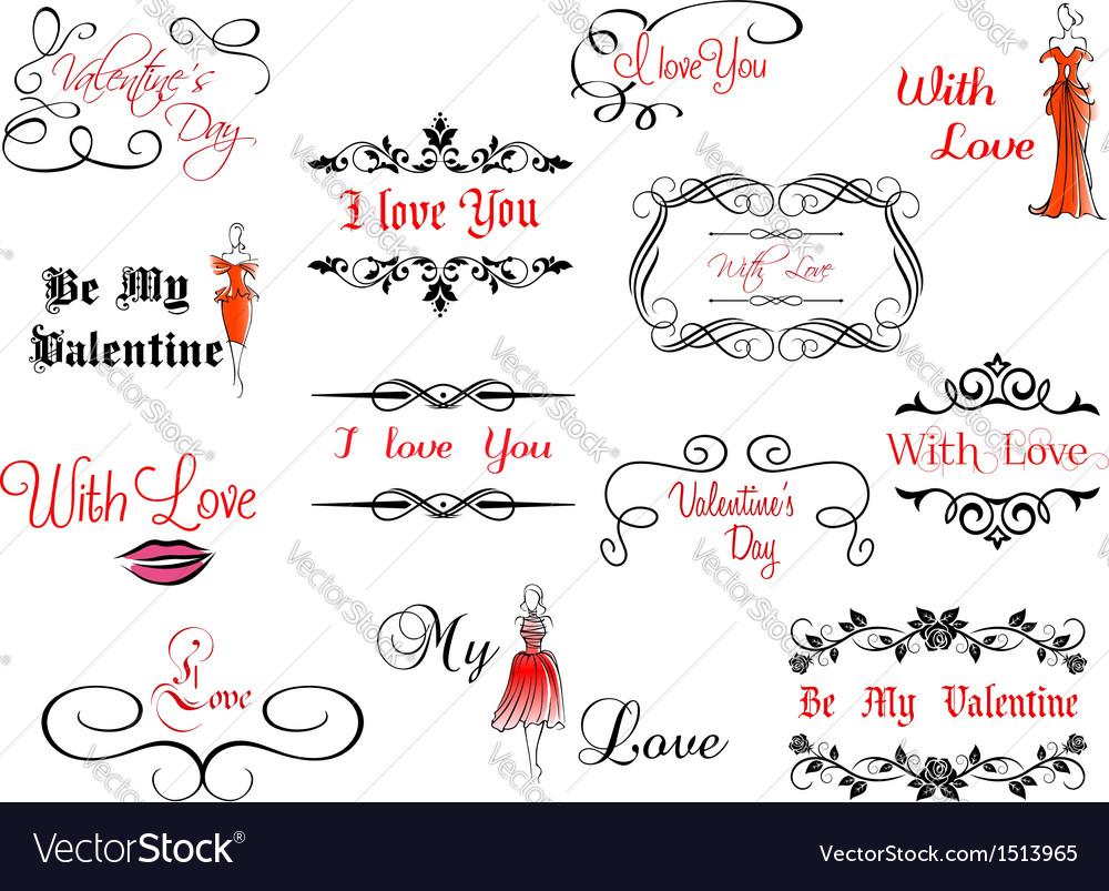 Set of Valentines headlines vector image