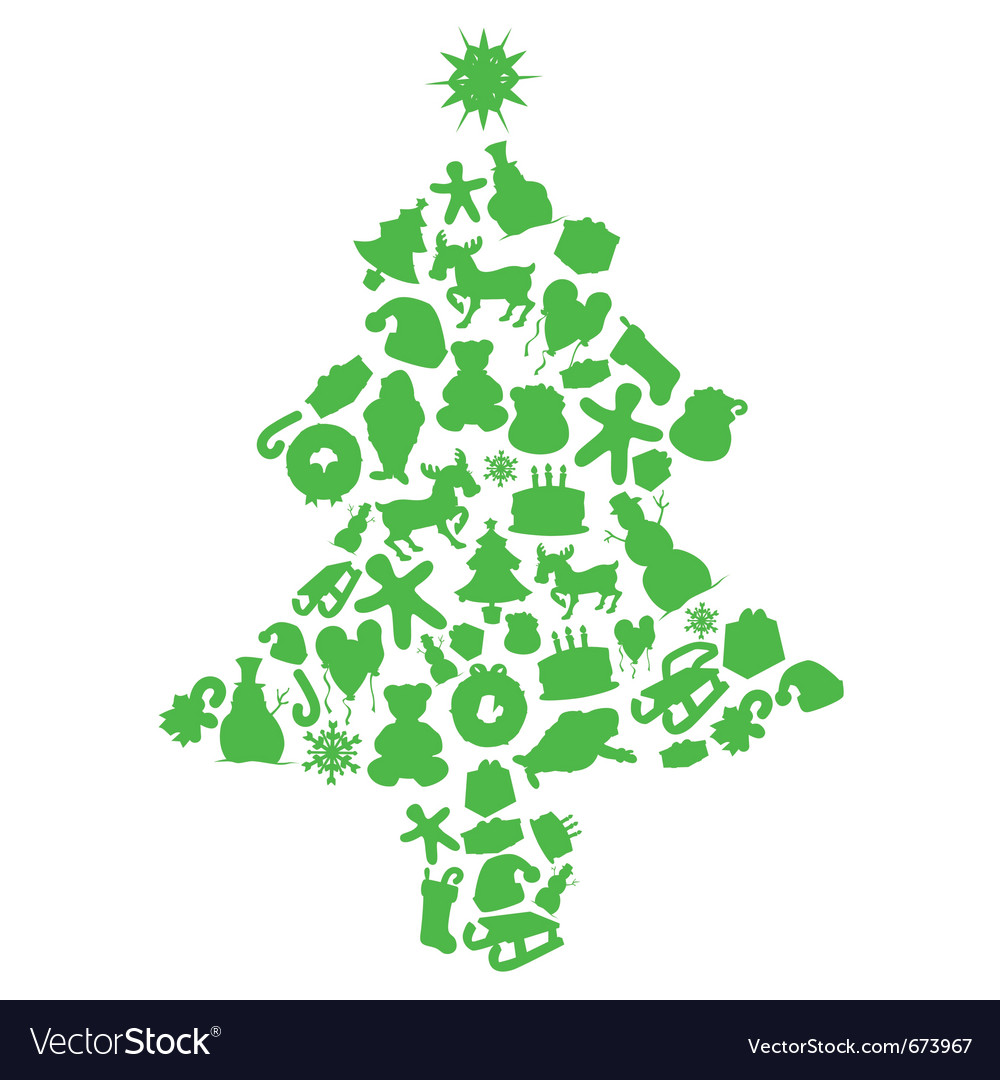 Christmas tree made by items silhouettes vector image for Christmas tree items list