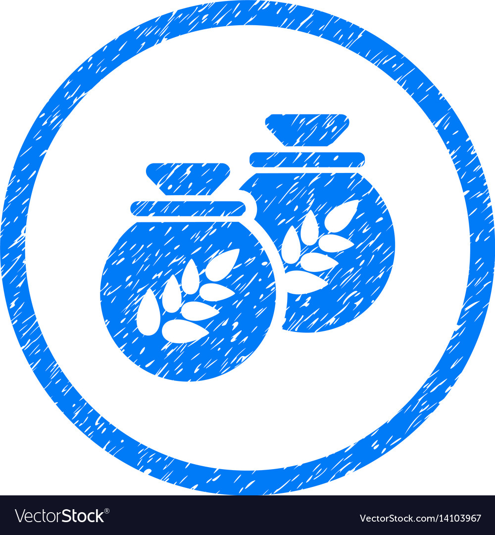 Grain harvest sacks rounded grainy icon vector image