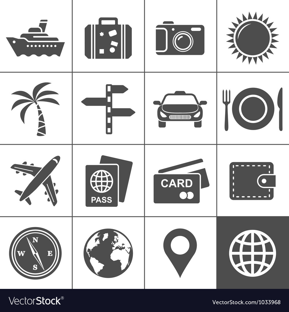 Travel and tourism icon set Simplus series Vector Image