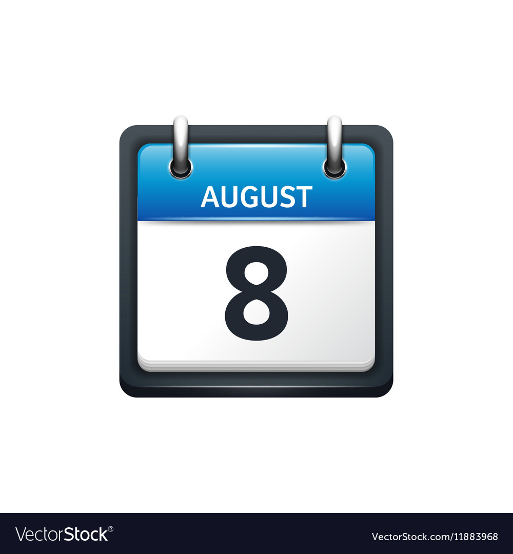 August 8 Calendar icon flat vector image