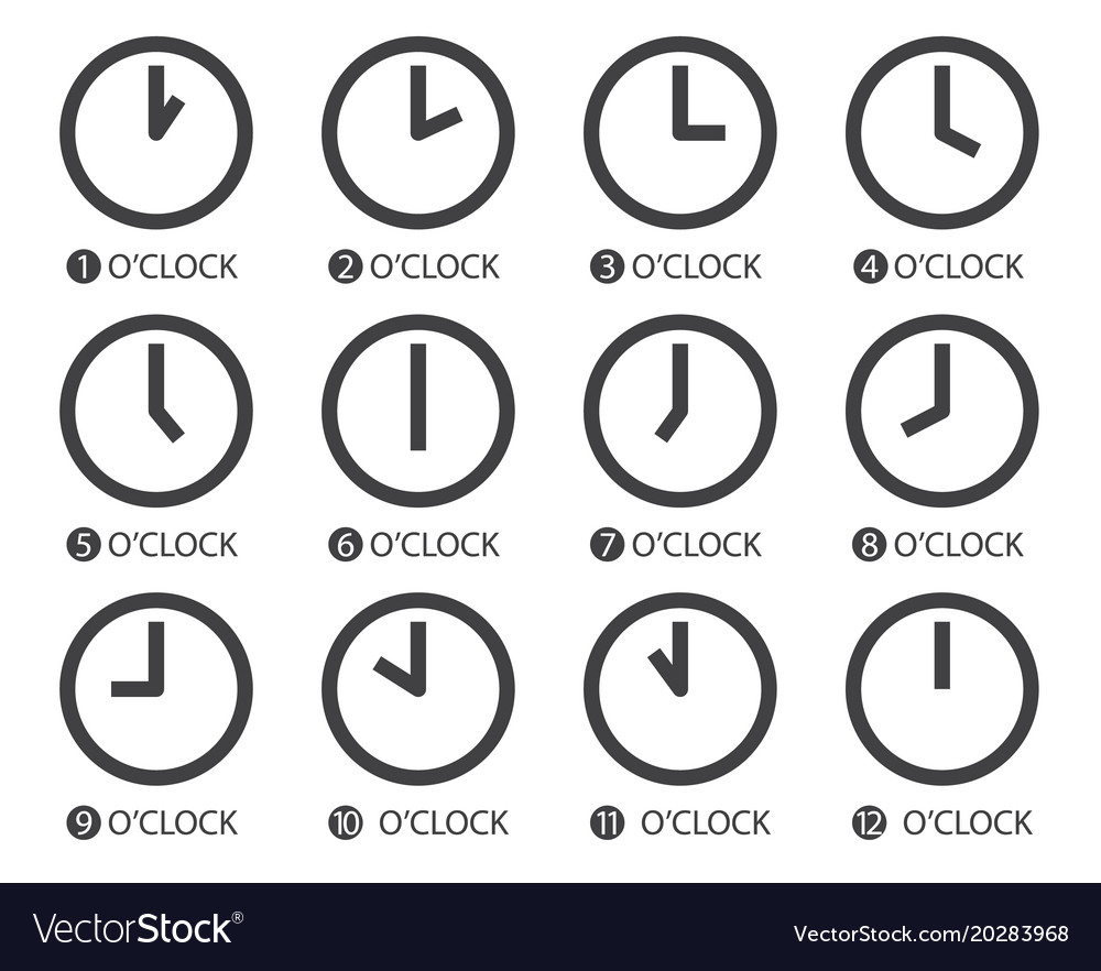 Flat design time icons vector image