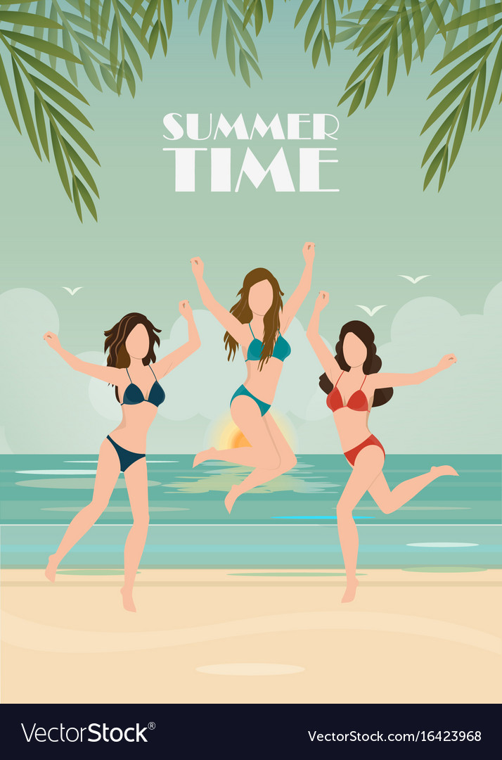 Happy bikini woman jumping of joy and success on vector image