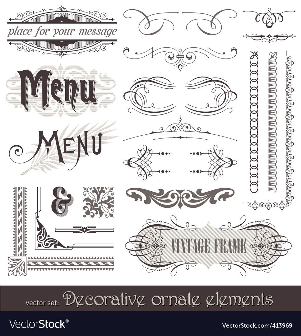 Vintage filigree elements vector image