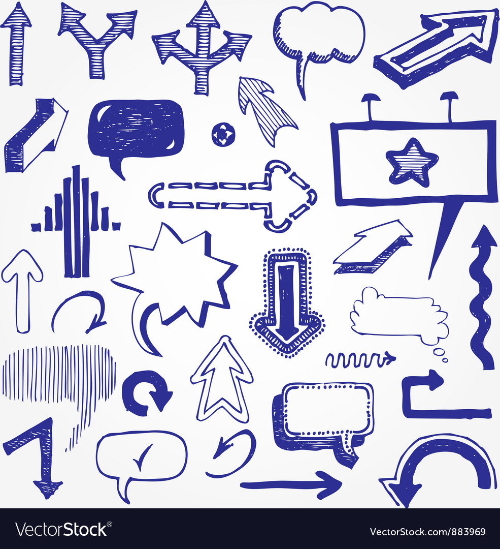 Arrows and speech bubbles set vector image