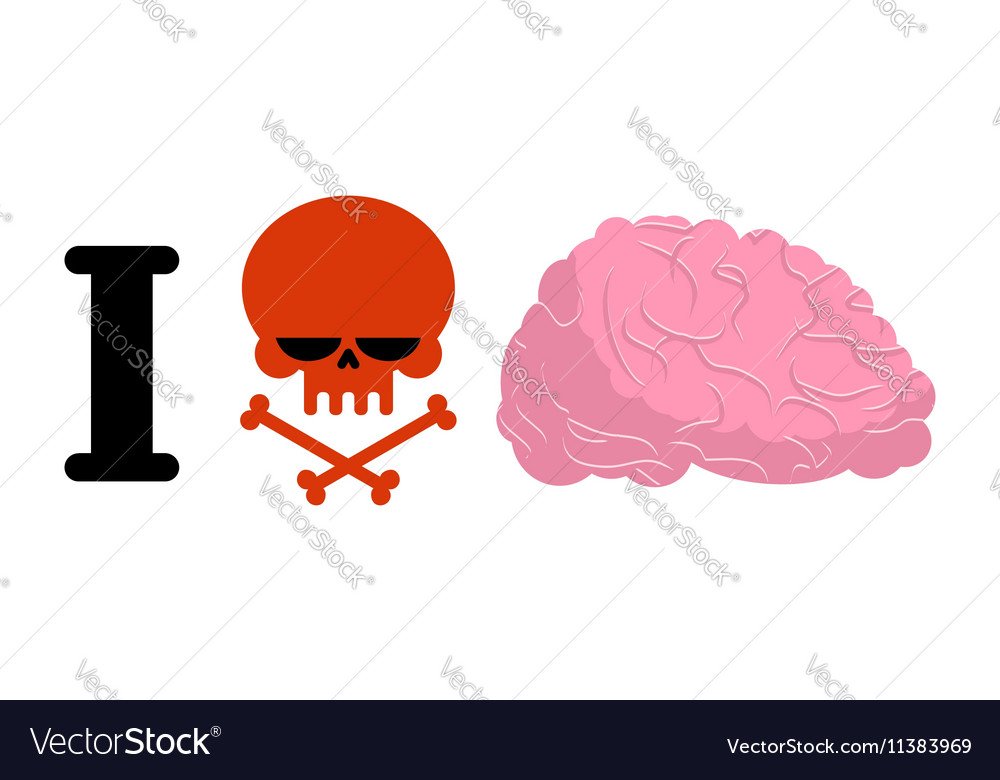 I hate to think Skull symbol of hatred and brain vector image