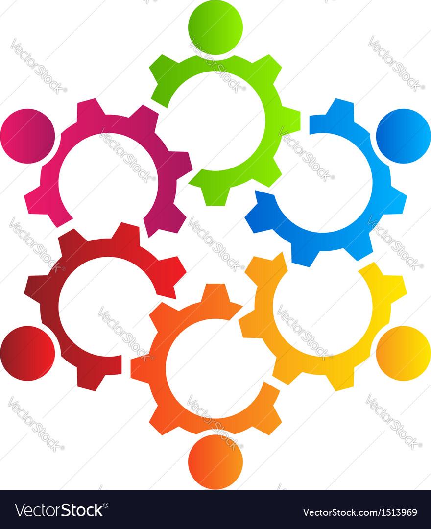 Teamwork Gears Logo vector image