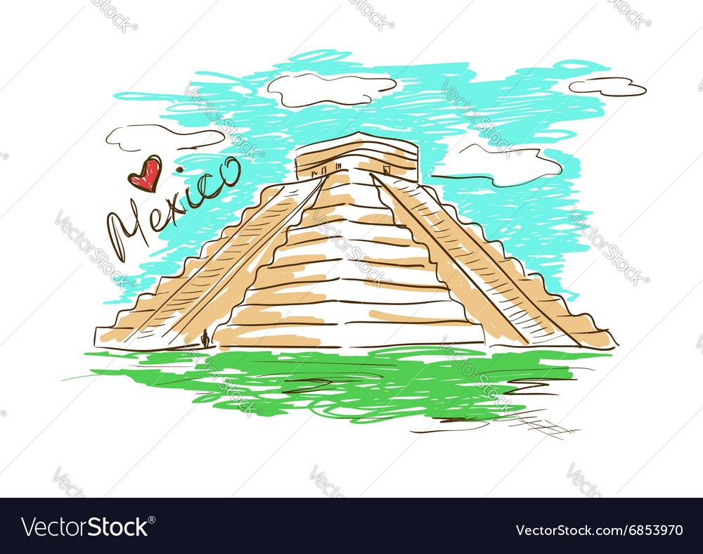 Sketch of Chichen Itza Mayan Pyramid in Mexico vector image