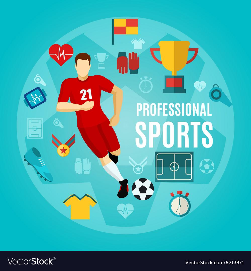 Professional Sports Flat Icon Set vector image