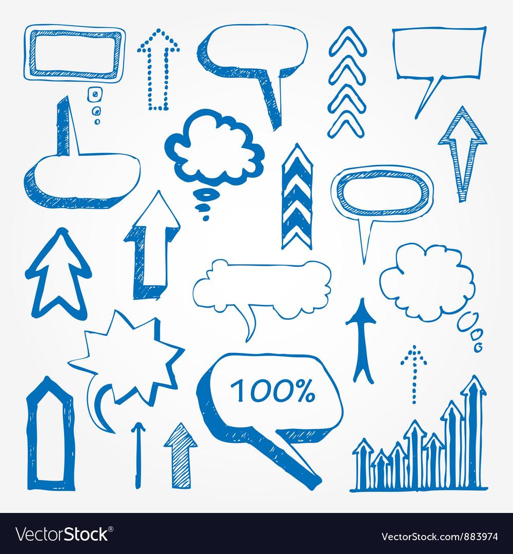 Arrows and speech bubbles set vector image