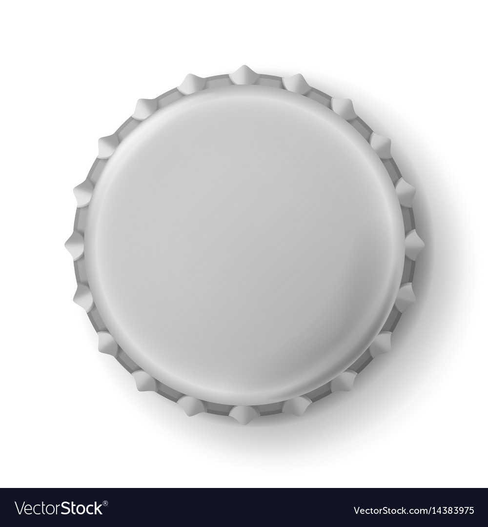 Beer cap metallic bottle cap isolated on vector image