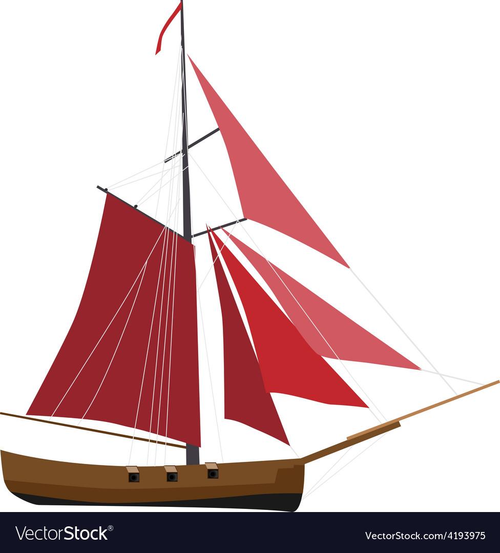 Sloop ship vector image
