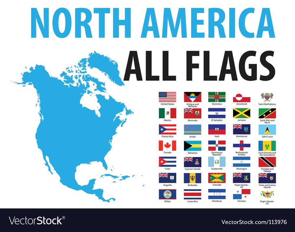 North America Flags Royalty Free Vector Image VectorStock - north flags