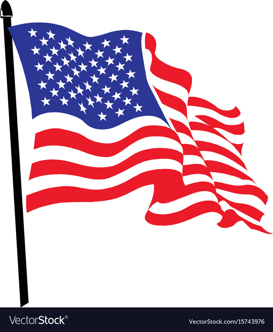 Waving american flag logo design vector image