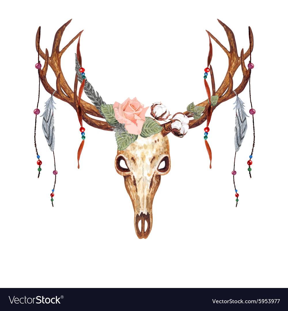 Deer Skull Rose Bead vector image