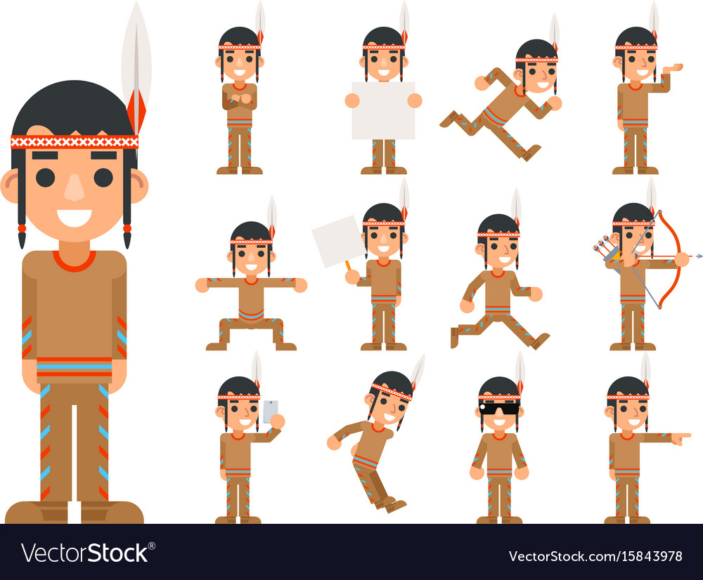 Red american traditional native tribal culture vector image