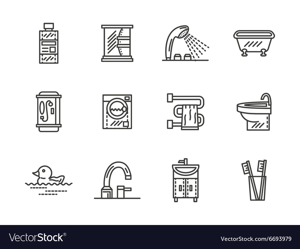 Bathroom black line icons vector image