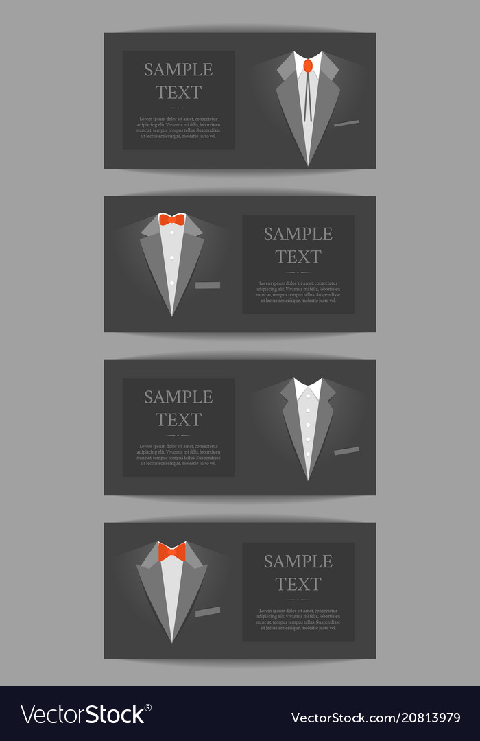 Cartoon business card with suits and tuxedo banner