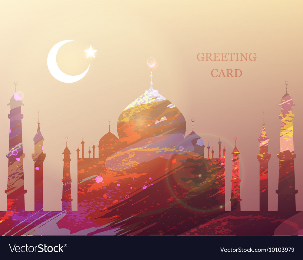 Eid al fitr greeting card watercolor mosque vector image kristyandbryce Images