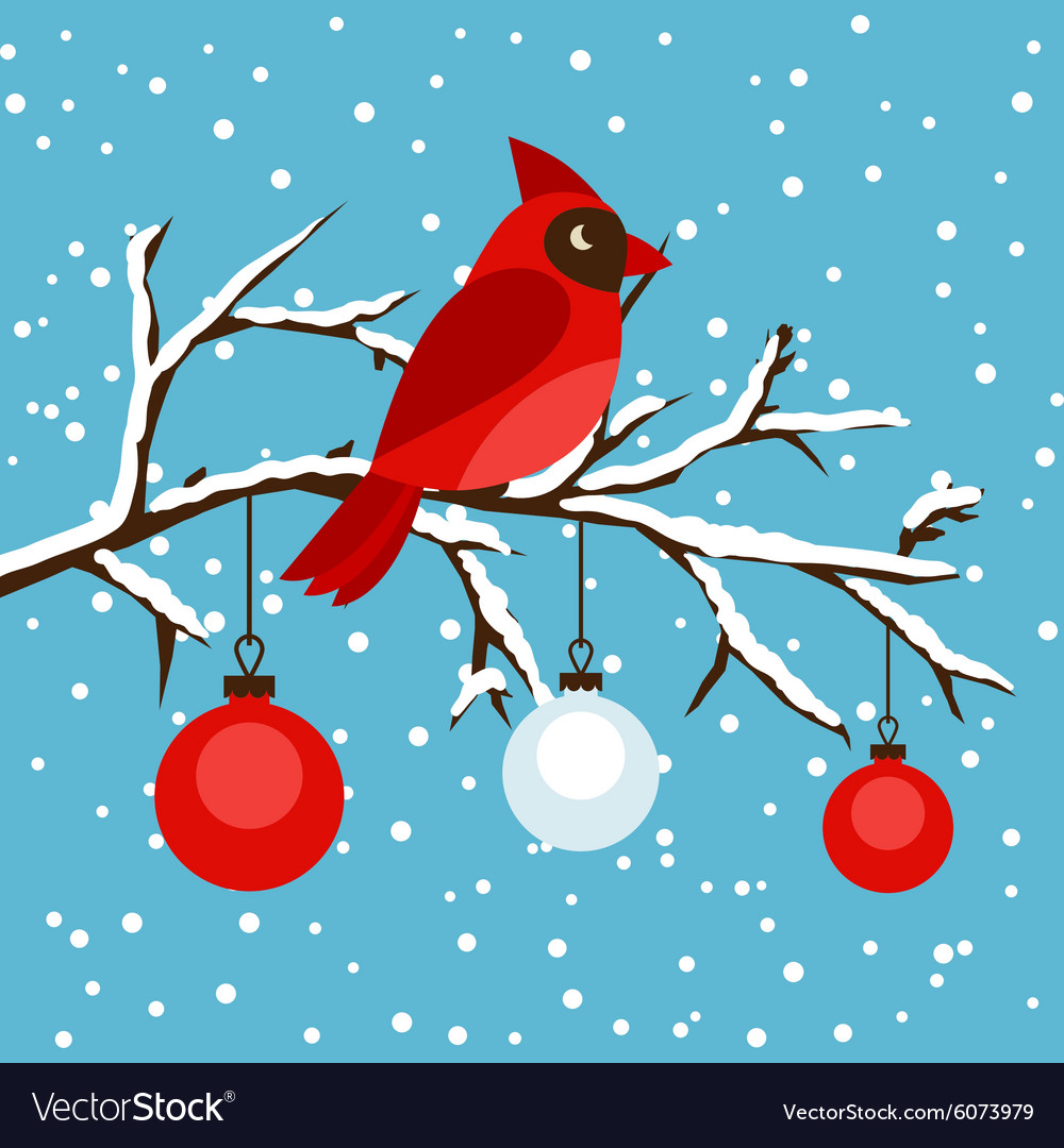 Happy holidays greeting card with bird red vector image