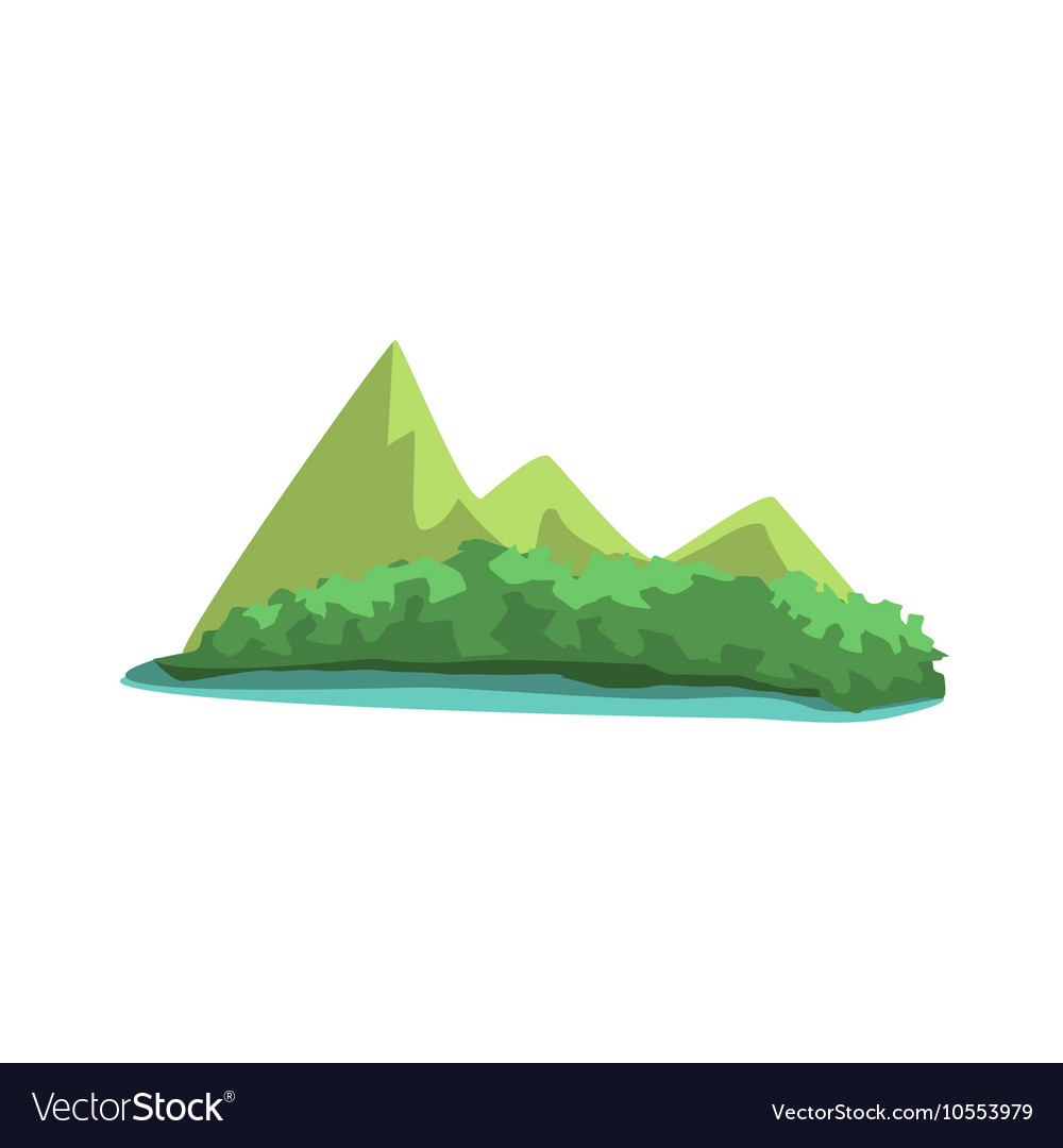 Tropical Island With Mountains View Jungle vector image