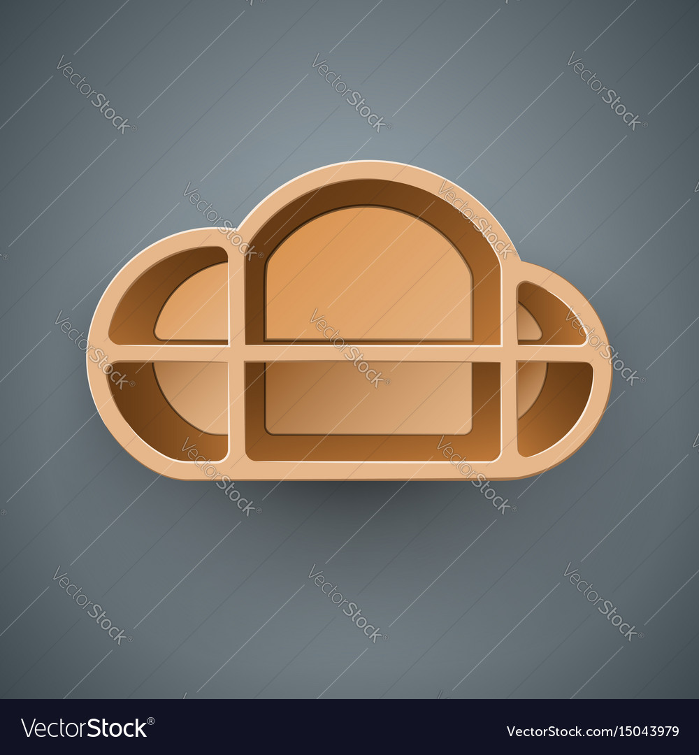 Wooden shelf for flowers books and other item vector image