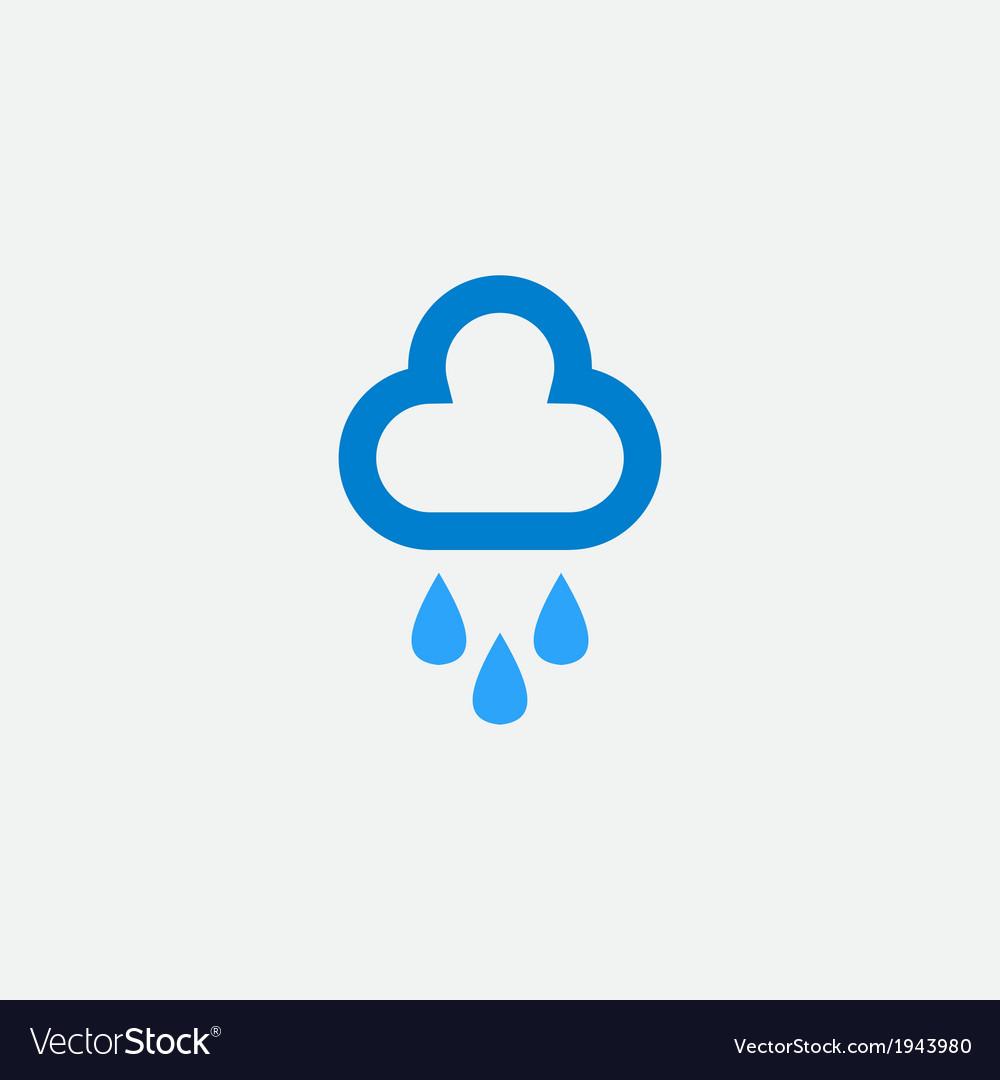 Cloud with rain drops icon vector image