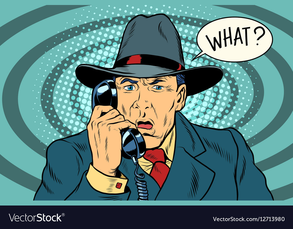 What Surprised retro businessman talking on the vector image