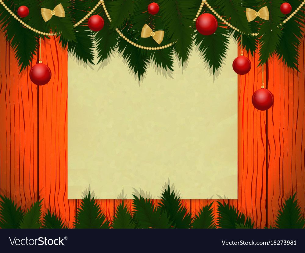 Wooden wall with christmas decor Royalty Free Vector Image